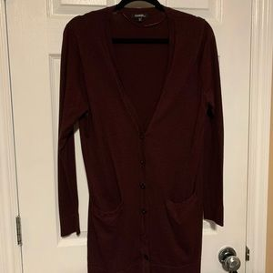 Maroon button front cardigan